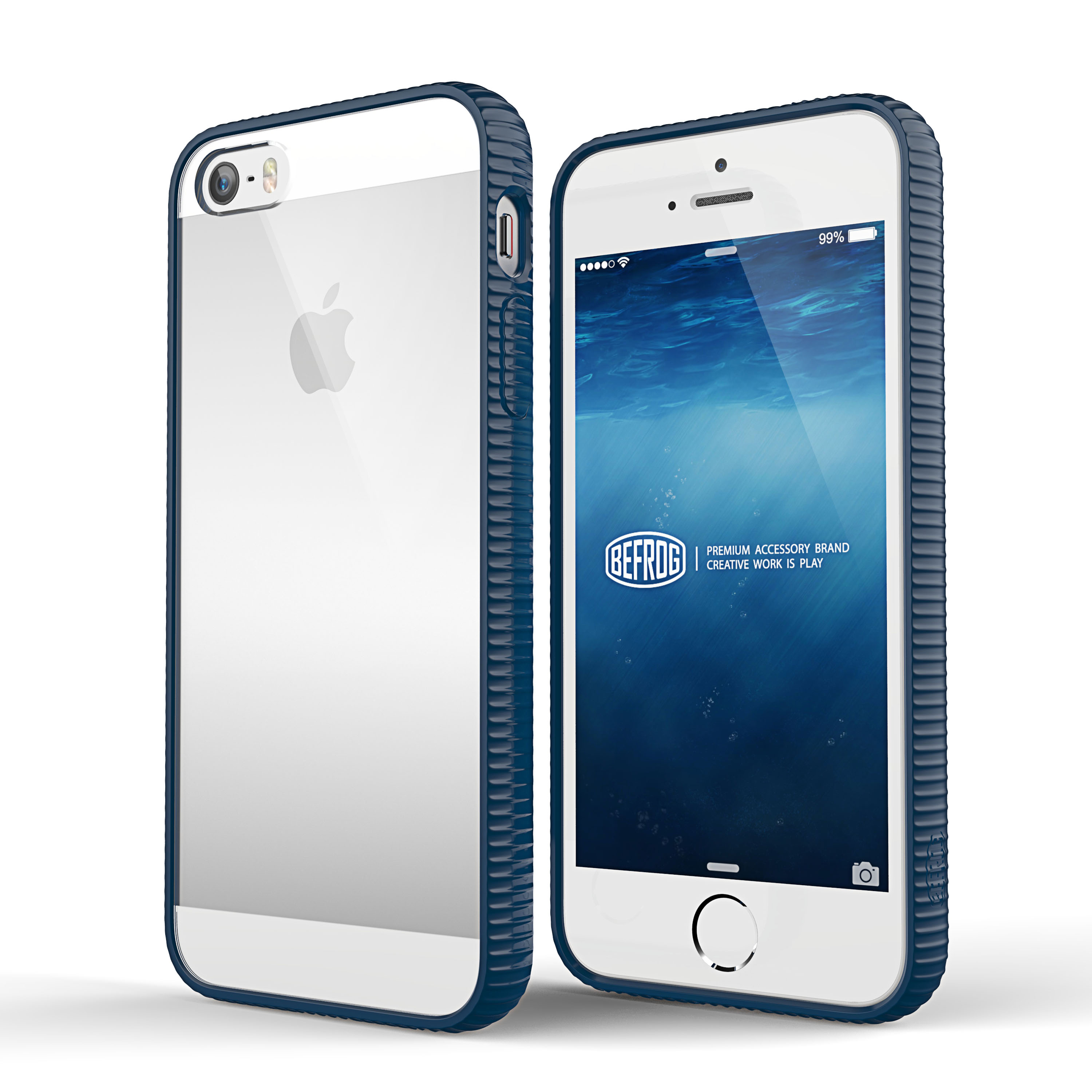 pretty nice 15de0 c77a0 Made for Apple iPhone SE/5/5S Case BEFROG [Dark Blue] Crystal Hard Back  Slim Flexible Grip Clear Back Panel + TPU Bumper Cover Case by Befrog